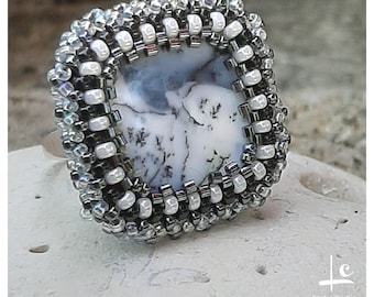 Carole L Creation PIECE UNIQUE High-quality natural mother-of-pearl ring and pearl weaving French Art Workshops