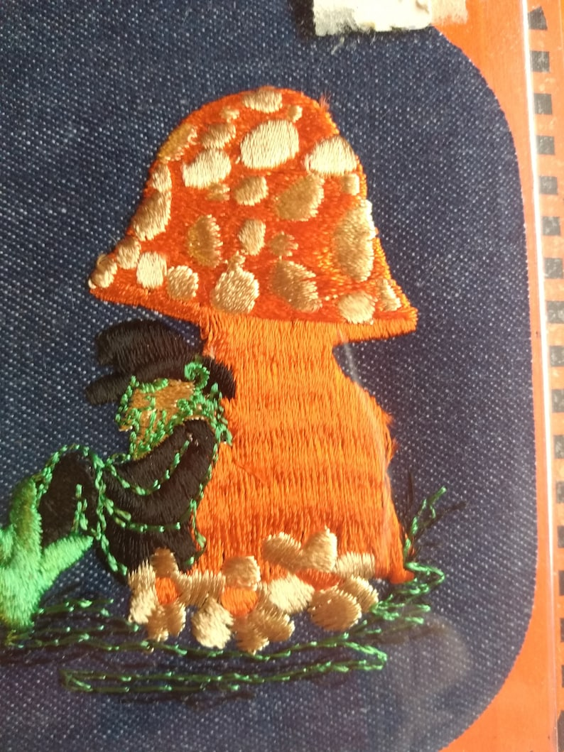Groovy Mushroom leprechaun Iron on Embroidered Patch plus Murphy/'s Stick Tite Jeans Patch.