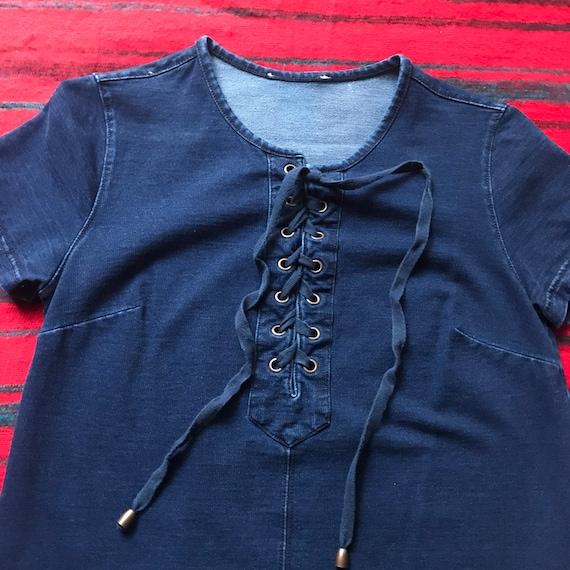 Dark Wash Denim Mini Dress with pockets - small - image 3