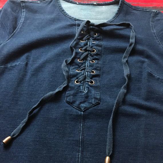 Dark Wash Denim Mini Dress with pockets - small - image 5