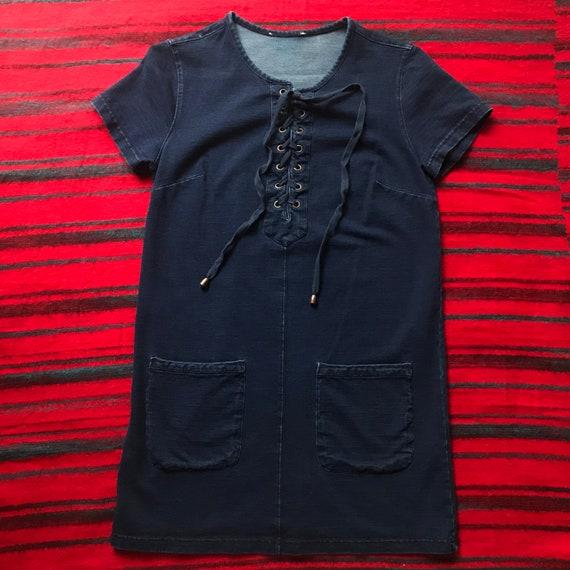 Dark Wash Denim Mini Dress with pockets - small - image 1