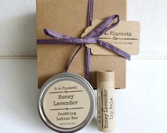 Honey Lavender Gift Set - Solid Lotion Bar and Lip Balm - Eco Friendly Gift - Gardener Gift - Gift For Her - Zero waste gift