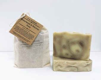Artisan Soap - Cedarwood and Vetiver - zero waste - Organic Bath Soap - Gift Soap - Bar Soap - soap in a bag - Men's Soap - Gift for Him
