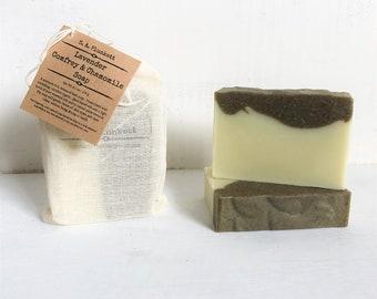 Artisan Soap - Lavender Comfrey & Chamomile - Organic Bath Soap - Gift Soap - Bar Soap - Sensitive Skin Soap - Soap in a bag