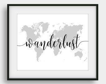 60% OFF Wanderlust World Map Print, Kids Room Decor, Printable Boys Gift, Nursery Print, Travel Gift, Calligraphy Print, World Map Decor