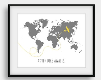60% OFF Adventure Awaits, Airplane Print, Motivational Print, Office Decor,  Nursery Map, Nursery Decor, Motivational Quote, Aviation Decor