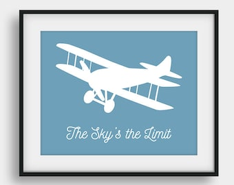 60% OFF The Sky's The Limit, Boys Room Decor, Nursery Decor, Transportation Print, Printable Baby Shower Gift, Aviation Decor, Airplane Art