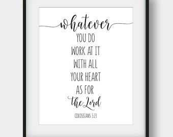 Genial 60% OFF Whatever You Do Work At It With All Your Heart As For The Lord,  Colossians 3:23, Bible Verse, Christian Decor, Office Decor