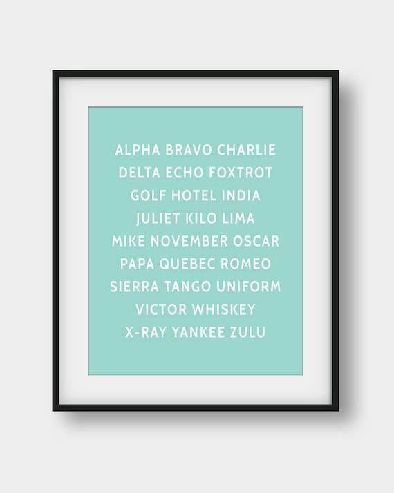 graphic about Phonetic Alphabet Printable named 60% OFF NATO Phonetic Alphabet Print, Aviation Artwork, Aviation Decor, Pilot Present, Gentle Mint Wall Artwork, Plane Decor, Phonetic Alphabet Poster