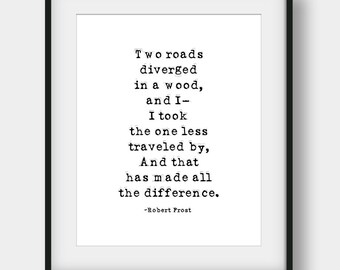 60% OFF Two Roads Diverged In A Wood, Robert Frost Quote, Literary Quote, Poetry Art, Printable Wall Art, Robert Frost Print, Office Decor