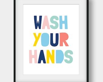 60% OFF Wash Your Hands Bathroom Print, Nursery Bathroom Decor, Bathroom Wall Art, Wash Your Hands Poster, Kids Bathroom Decor, Kids Gift