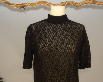 90s shirt true vintage lace m L Black collar Gothic lady Bombshell classic Elegant
