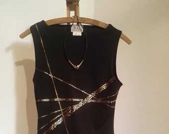 90's true vintage tank top women's black gold sleeveless XS S eccentric edgy bombshell disco summer party