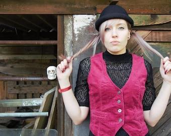 90s vest true vintage Cordweste red Bordeaux dark red M gothic romance