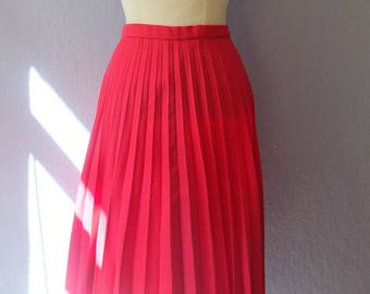 70's Skirt True Vintage pleated skirt pink S / M Pin Up Rockabilly preppy classic handmade hand-sewn