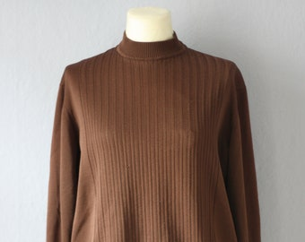 50s Sweater true Vintage brown m unisex light sweater with cuffs * Small error *