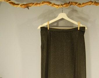 70s Maxi skirt true vintage black long silver 36 / 38 S/m Lurex A-line German Democratic Republic VEB women's fashion Hall high waist disco shiny retro