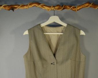 70s Vest true vintage m/L herringbone pattern Crest Buttons V-Neck Office Business herringbone pattern