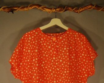 80s shirt true vintage L Coral salmon white short sleeve blouse dots dot oversize plus sized blouse
