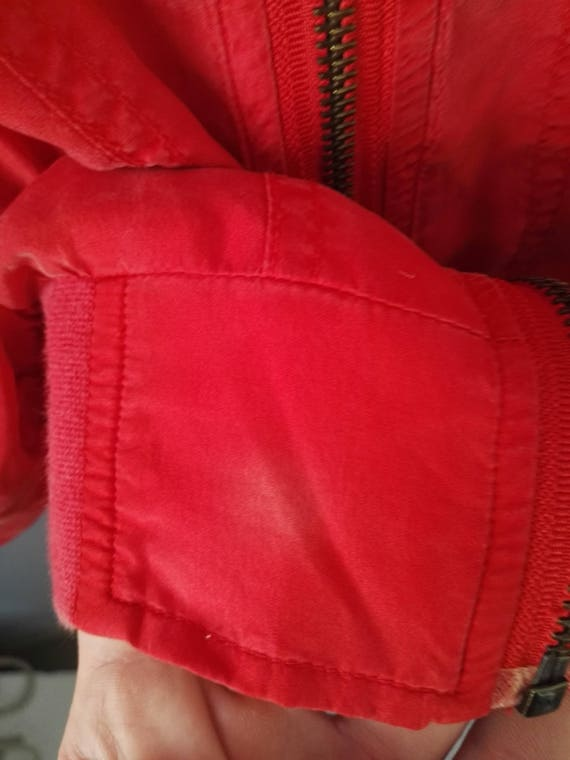 80s Blouson True Vintage Red Silk Jacket Bomber J… - image 5