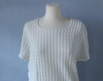 90s sweater True vintage M white Claude de Pierre knit sweater short sleeve white minimalist sporty preppy classic