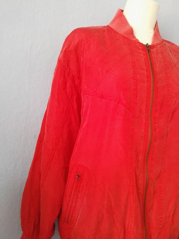 80s Blouson True Vintage Red Silk Jacket Bomber J… - image 3