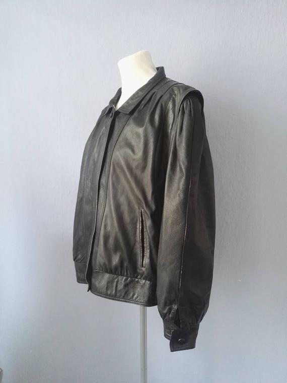 Vintage Lederjacke mit Puffärmeln schwarz