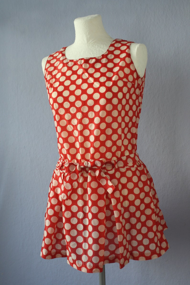 3a8aeceeae8 60er Kleid True Vintage DDR Minikleid ärmellos XS Dederon rot