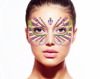 Her Mardi Gras Temporary Tattoo Face Mask
