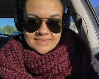 Wrapped Up in You Infinity Scarf in Burgundy