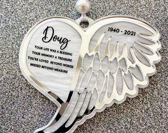 Angel Wings Memorial Ornament, Memorial Ornament, In Memory Ornament, Personalized Memorial Ornament, Infant Loss Ornament, Memorial Gift