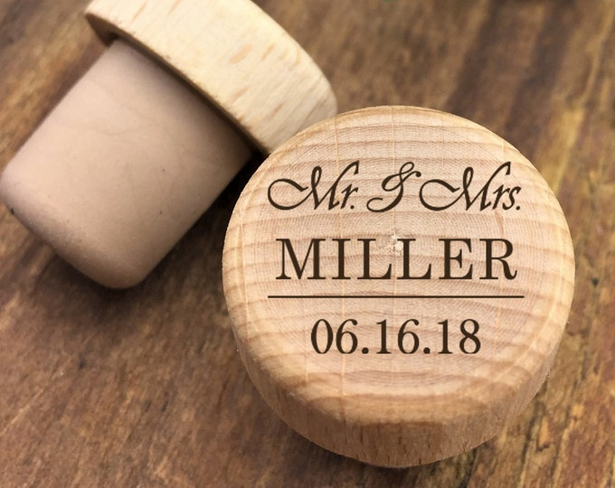 Featured listing image: Personalized Wine Stopper - Custom Wine Stopper - Engraved Wood Wine Stopper - Wedding Favor - Wine Wedding Gift - Wine Cork - Customized
