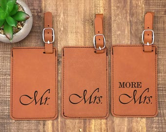 Mr & Mrs Luggage Tags - Set of 3 - Luggage Tags - Wedding Gift - Travel Tags - His and Hers Luggage Tags - Mr Mrs and More Mrs Luggage Tags
