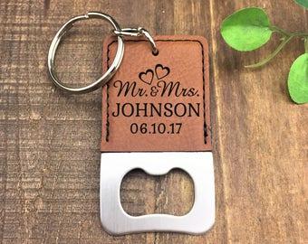 Personalized Bottle Opener Keychain - Mr & Mrs Bottle Opener - Customized - Wedding Gift - Bottle Opener - Keychain - Keychains