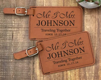 Personalized Luggage Tags - Set of 2  -  Mr & Mrs Luggage Tags - Traveling Together - Wedding Gift - Customized - Travel Tag - Luggage Tag