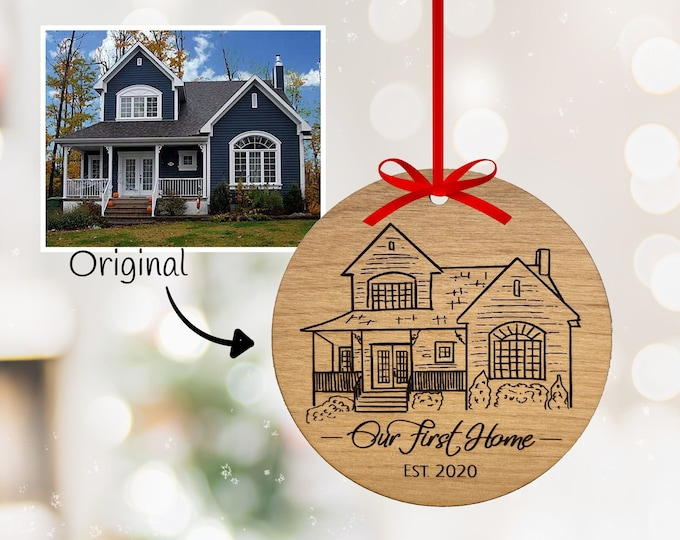Featured listing image: Custom Hand-drawn Sketch of Home! Custom Home Ornament - Realtor Closing Gift - House Warming - New Home - Custom home portrait from photo