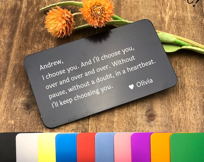 Featured listing image: Personalized Metal Wallet Insert Card with any Text/Quote - Laser Engraved Metal Card - Personalized Message Card - Wallet Insert - Custom