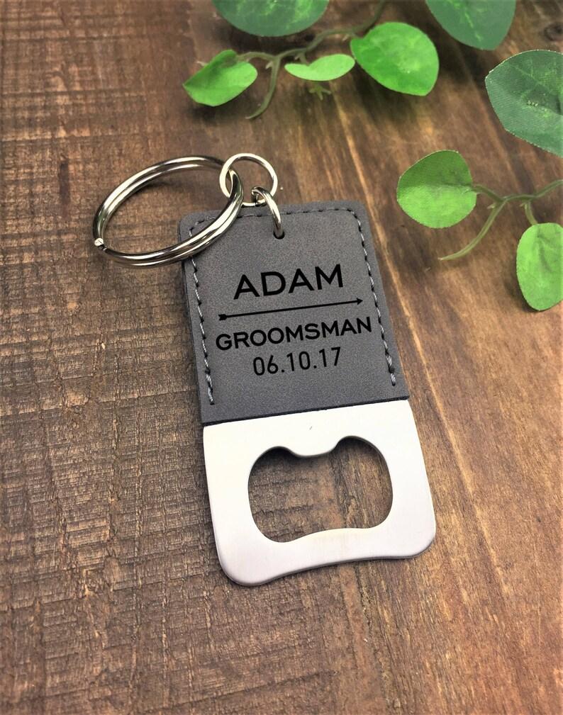 Personalized Bottle Opener Keychain Wedding Party Gift Bottle Opener Groomsman Gift Favor Keychain Engraved Customized