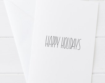 Pottery Inspired Card - Minimalist Holiday Card - Christmas Card - Handlettered Print - Handlettered Plain Greeting Card - Merry Christmas