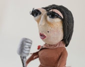 Jazz Singer - OOAK Handmade Sculpture - Unique Recycled Paper Figurine, One Of A Kind, handcrafted, weird, miniature, jazz, lady, singer