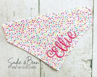 Rainbow Sprinkles Dog Bandana, Embroidered, Sprinkles, personalized, Happy birthday, Birthday Girl, dog Bandana, personalized, dog bandana