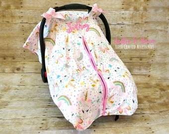 Carseat Canopy Baby Car Seat Covers Gift Shower Infant Cover Unicorn Pink