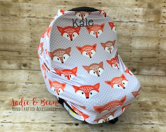 Nursing cover, Carseat cover, 4-in-1 Stretchy Baby Nursing Cover, Car Seat Canopy, and Shopping Cart Cover, monogrammed, personalized, foxes