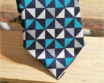 Teal Navy Gray and White Geometric Necktie, Mens Necktie, Men's Necktie, Dark Necktie