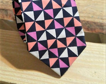 Lavender Coral Navy and White Geometric Necktie, Shapes Necktie, Men's Necktie