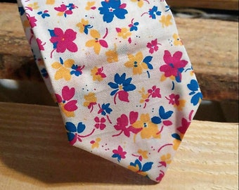 Capri Floral Necktie, Fushia Blue and Yellow Floral Necktie, Men's Necktie