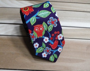 8fedab0a36 Purple and Red Owl Necktie
