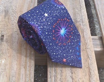 Forth of July Fireworks Necktie, Glitter Necktie, Independence Day, Red White and Blue, Patriotic Necktie