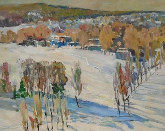 VINTAGE WINTER LANDSCAPE Original Oil Painting by a Soviet Ukrainian Artist Bespruzhnaya L. 1980s, Signed, Winter scenes, Fine Art