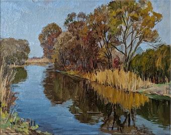 River bank 1972 VINTAGE RIVERSCAPE Oil Original Painting by a Soviet Ukrainian artist S.Dumenko Impressionist artwork Summer landscape